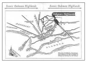Original brochure map for the Oakmore Homes development.