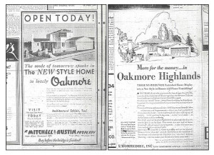 An original open house ad for the Oakmore development.